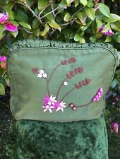 More details for vintage rich olive green padded tea cosy. colourfully embroidered. ruched trim