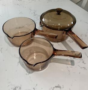 VISION CORNING VINTAGE Amber GLASS PAN SET. 14cm/16cm/18cm