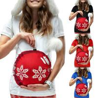 Women Pregnant Maternity O-Neck Short Sleeve Print Christmas T-shirt Blouse Tops