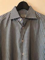 Gritty By Ermenegildo Zegna Button Front Dress Shirt Plaid 16 41 Blue Casual