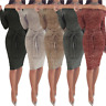Womens Off Shoulder Long Sleeve Bodycon Casual Party Evening Cocktail Mini Dress