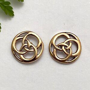 Borromean Trinity Rings Gold Stud Earrings - Strength of Unity Symbol