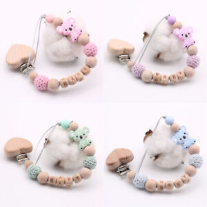 Koala Personalised Name Wood Silicone Dummy Pacifier Chain Clip Baby Shower Gift