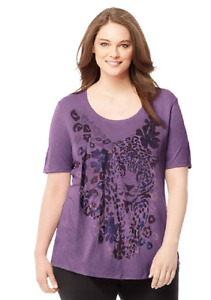 Just My Size 4X Fluid Rayon Blend S/S Glitzy Graphic Top  Purple Heath. Leopard