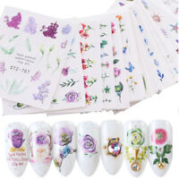 24 Sheets Charm Flowers Tips Watercolor Water Transfer Decals Nail Art Stickers