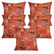 Decorative Cushion Covers 60cm x 60cm Orange Patchwork Cotton Hippie Set Of 5