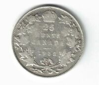 CANADA 1932 TWENTY FIVE CENTS QUARTER KING GEORGE V .800 SILVER COIN