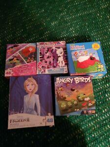Lot of 5 Mixed Preschool Puzzles-Angry Birds, Disney, My Little Pony