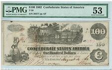 1862 $100 Confederate States of America (CSA) T-39 PMG AU 53 Cr. 298