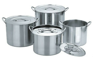 4 Sets JARHILL 15,11,8,6 Quart Stainless Steel Stock Pots w Lids Induction Ready