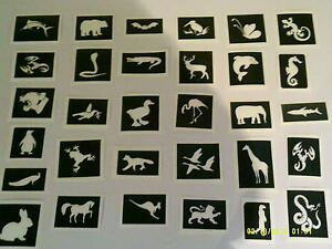 40 animal themed tattoo stencils for glitter tattoos / body art / airbrush