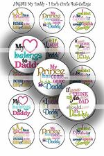 Pre-Cut Bottle Cap Images My Daddy Collage Sheet JPG343 - 1 Inch Circles