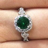 Sparkling Round Green Emerald Ring Women Jewelry 14K Gold Plated Nickel Free