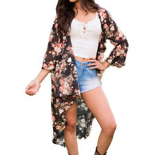 Women Beach Bikini Cover Up Kaftan Floral Loose Kimono Cardigan Blouse Shawl Top