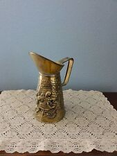 """Vintage Brass Pitcher - Embossed - Made in England - Boat & Lighthouse 6 1/2"""""""