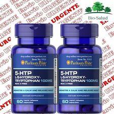 5-HTP TRIPTOFANO 100mg  2x60c. Serotonina Antidepresivo Puritans