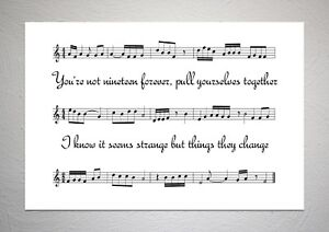 The Courteeners - Not Nineteen Forever - Song Sheet Print Poster Art