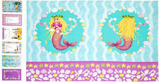 Mermaid Wishes Cotton Fabric Panel