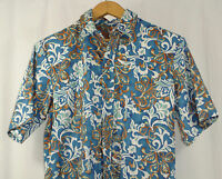 Island Traditions of Hawaii Camp Aloha Shirt Size M Teal Blue Brown Made in USA