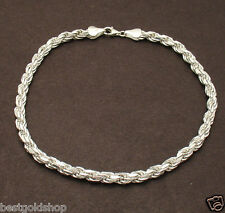 "Ankle Bracelet Solid 925 Sterling Silver 10"" 4mm Bold Diamond Cut Rope Anklet"