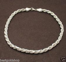 "Ankle Bracelet Solid 925 Sterling Silver 10"" 5mm Bold Diamond Cut Rope Anklet"