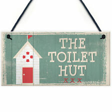The Toilet Hut Shabby Chic Bathroom Sign Seaside Plaques Beach Nautical Gifts