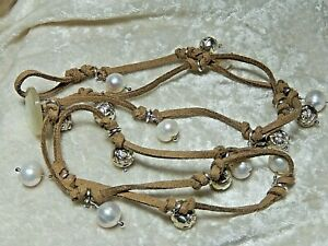 """Leather Wrap Bracelet 31"""" With Pearls & Silver color Rose Beads"""