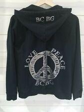 bcbg maxazria hoodie XL wo's black/bling front zip cotton/spandex zip pockets