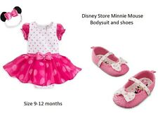 Disney Store Minnie Mouse Baby Girl Bodysuit Costume & Shoes Size 9-12m NWT B22