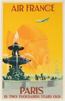 Affiche Originale - Guerra - Air France - Paris - Tour Eiffel - Concorde - 1951