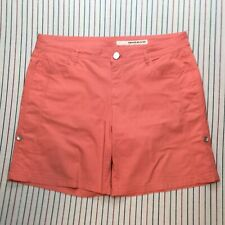 648 DKNY Jeans Shorts Bermuda Stretch Five Pockets Roll Up Womens Size 14 SALMON