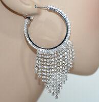 PENDIENTES ANILLO mujer plata strass elegantes colgantes pendientes novia BB87