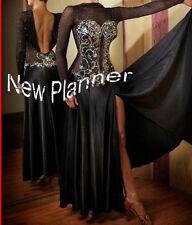 B4308 Ballroom Cocktail swing Waltz Tango Dance Dress US 6 black sleeve