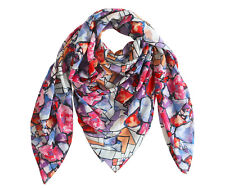 Premium Lightweight Cotton Square Scarf/Wrap, Abstract Print Scarf, Fall Colored