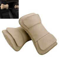 2X Genuine Beige Leather Layer Car Seat Cushion Headrest Head Rest Neck Pillow