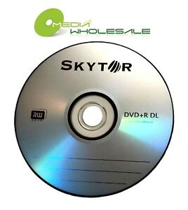 10 SKYTOR 8X Blank DVD+R DL Dual Double Layer 8.5GB Logo Branded Disc in Sleeves