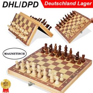 Magnetische Holz Schach Magnet Schachbrett Schachspiel mit Schachfiguren 29*29cm