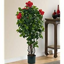 Artificial Hibiscus Tree 4Ft Green Plant Flower Office Fake Floral In Door Decor