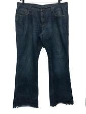 BDG Blue Jeans Mens 38x32 Straight Relaxed Dark Denim Jeans Raw Cuffs (8A-10)