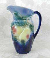 "Vintage Royal Copley Ceramic Pitcher Blue Pears Apples 7.5"""