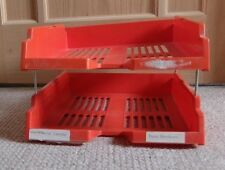 2 Tier Red Desk Filing Trays - Used - COLLECT IT OR HAVE IT POSTED FOR +£6.00.