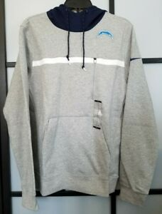 Men's Chargers Nike Heathered Gray Champ Drive AV15 Performance Pullover Hoodie