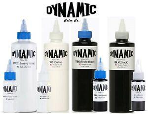 Dynamic Tattoo Ink Triple Black, Regular Black, White, Heavy White PICK:1oz /8oz