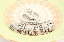 Tiny Triple Elephant Fashion Keychain Crystal Cute Animal Present Gift 01330
