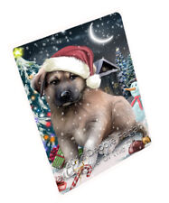 Holly Jolly Christmas Anatolian Shepherd Dog Tempered Cutting Board Large Db447