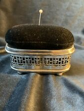 ANTIQUE SILVER PIN CUSHION & CONTAINER