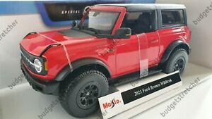 MAISTO 1:18 Scale Diecast Model Car - 2021 Ford Bronco Wildtrak in Red