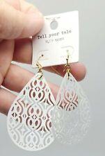 Tell Your Tale White Filigree Gold Hook Drop Earrings