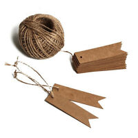 100PCS Kraft Paper Tag String Vintage Price Tags with100 Feet Natural Jute Twine