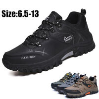 Men's Winter Waterproof Leather Hiking Boots Outdoor Climbing Ankle Shoes Warm